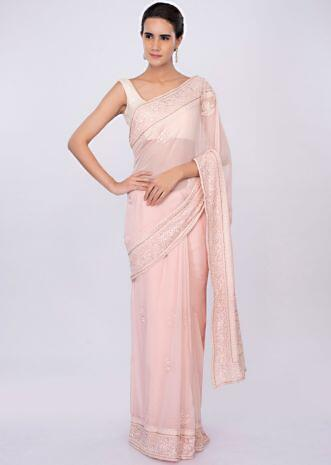 358236d4c4f Pale pink georgette saree with self floral embroidery and butti only on  kalki ...