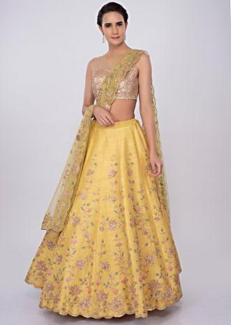 Pale yellow raw silk lehenga  set in floral jaal work only on kalki