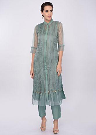Paris green three piece suit designed with pleats only on Kalki