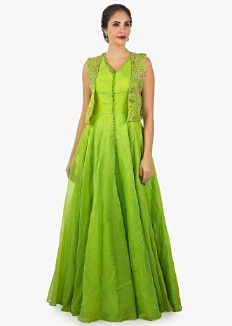 Parrot green anarkali dress paired with a floral resham jacket