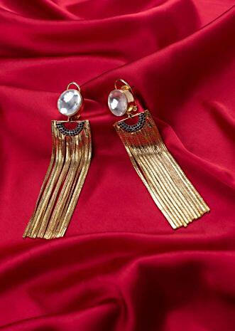 Party wear sleek multi string tassel earring only on Kalki