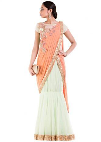 Pastel Green & Orange Drape Gown Saree