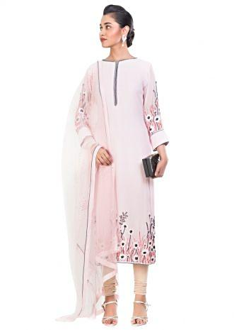 Pastel Pink Embroidered Suit Set