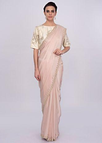 Pastel pink satin chiffon saree with cut dana and moti embroidery and butti only on Kalki