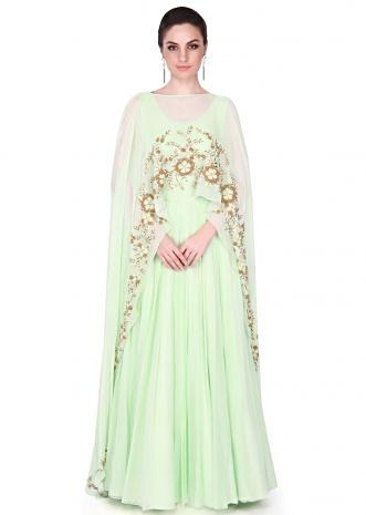 Pastel green anarkali suit matched with long cape only on Kalki