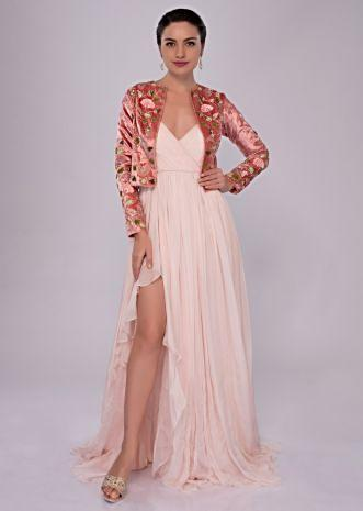 Patel pink flat chiffon gown with 3d hand embroidered velvet jacket