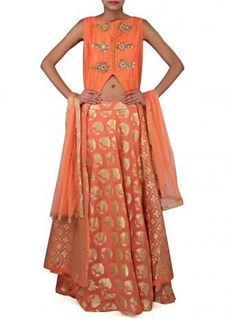 Peach A line suit adorn in zardosi and mirror embroidery only on Kalki