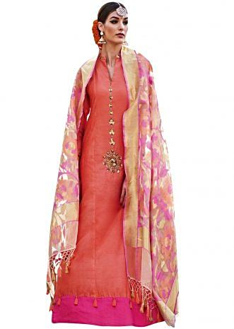 Peach A line suit with embroidered collar and placket