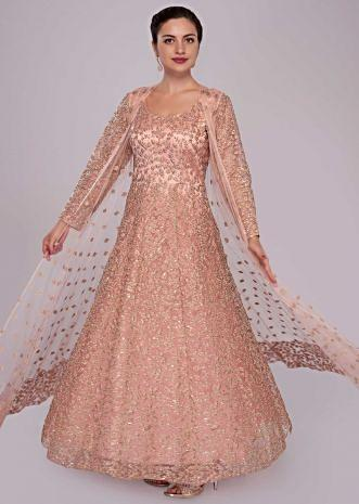 Peach anarkali gown with jacket adorn in zari cord and sequin work