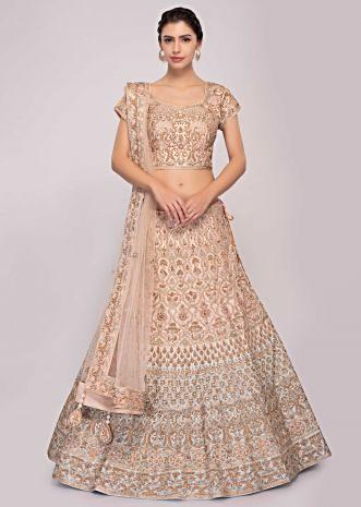 Peach and blue shaded raw silk lehenga paired with matching embroidered blouse and net dupatta