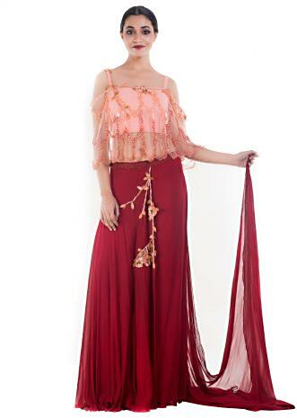 Peach and Wine Croptop & Layered Palazzo Set