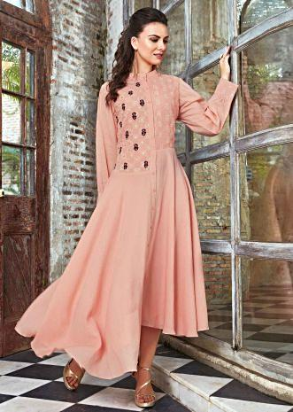 Peach cotton kurti in resham embroidery and foil printed butti