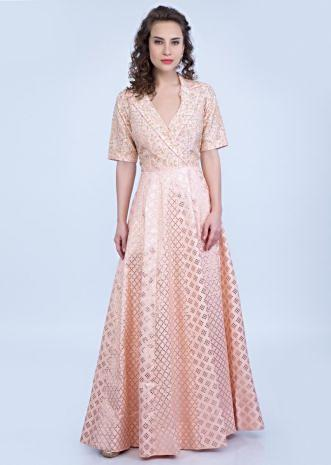 a7871a9619da8 Peach cotton silk tunic dress designed with shawl collar and embroidered  bodice only on Kalki ...