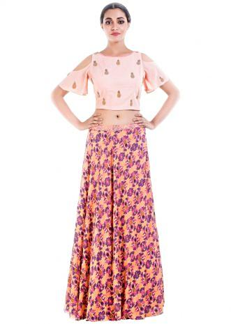 Peach Croptop & Pineapple Print Skirt