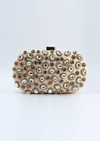 Peach curve box clutch in chanton flat back beads