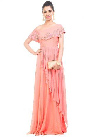 Peach Drop Shoulder Gown
