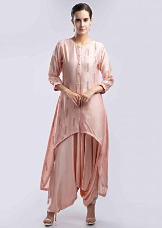 32d3108f52b Peach front short back long suit with satin dhoti pant only on Kalki ...
