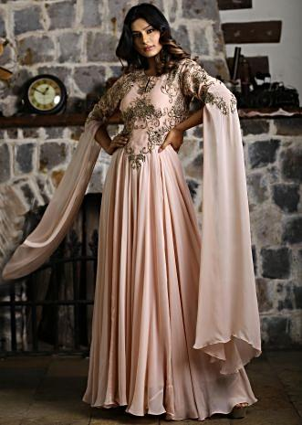 Peach georgette gown embroidered net bodice