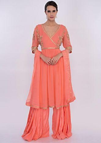 Peach georgette sharara suit set only on Kalki