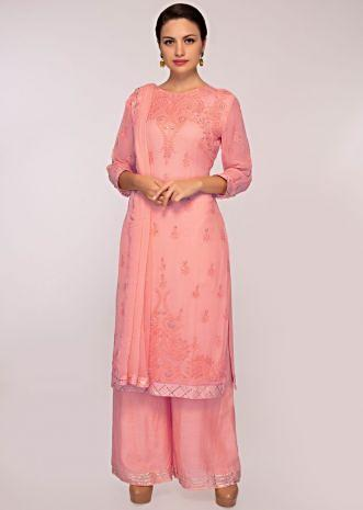 Peach georgette suit with matching palazzo and chiffon dupatta