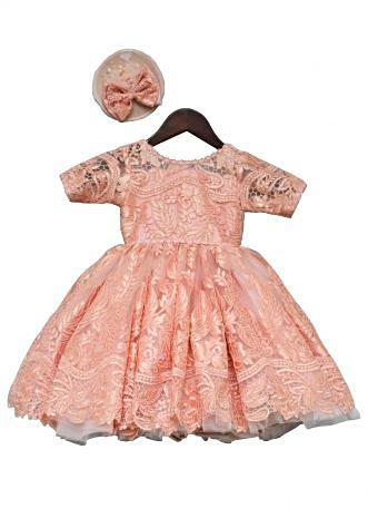 Peach Lace Gown By Fayon Kids