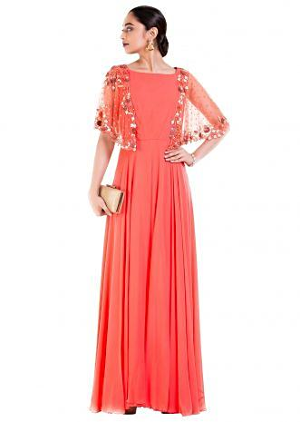Peach Long Dress With Embroidered Half Cape.