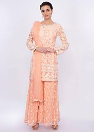Peach net embroidered palazzo suit set only on Kalki