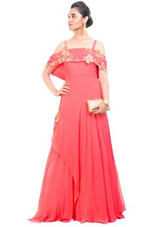Peach Off Shoulder Cape Gown