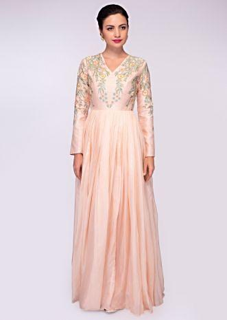 Peach organza gown with raw silk bodice intricated in floral resham embroidery