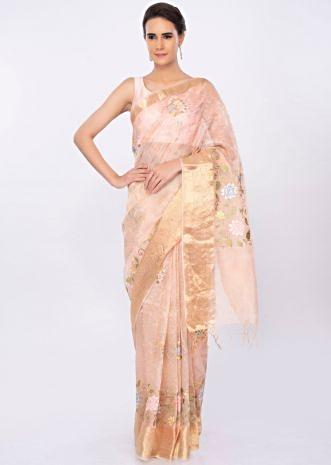 Peach organza saree in multi color floral jaal embroidery only on kalki