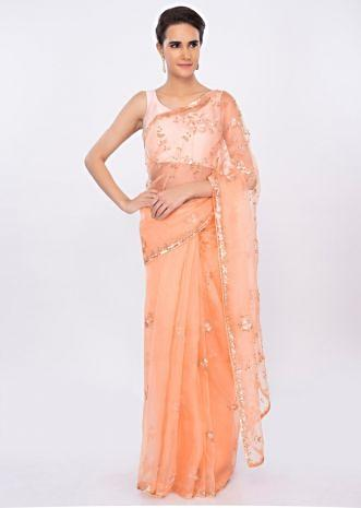 Peach organza saree with floral embroidered pallo and border only on kalki