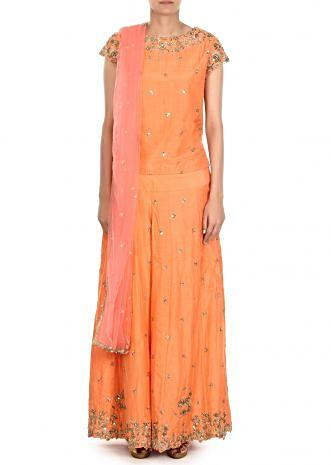 Peach palazzo suit adorn in zardosi embroidery only on Kalki