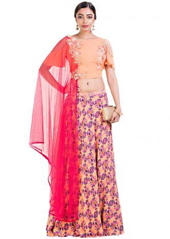 Peach Pineapple Printed Lehenga Set With Attached Dupatta