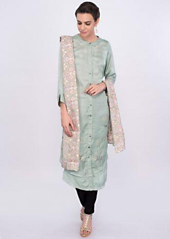 Sage green satin silk kurti with multi color french knot and thread embroidery only on Kalki