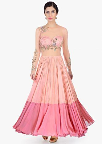 Peach shaded georgette and net gown