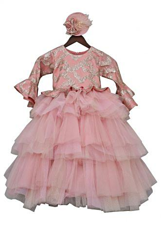 Peach Shimmer Gown with layered net By Fayon Kids