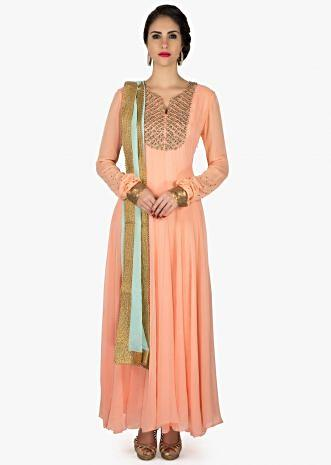 Peach anarkali suit in georgette with embroidered placket only on Kalki