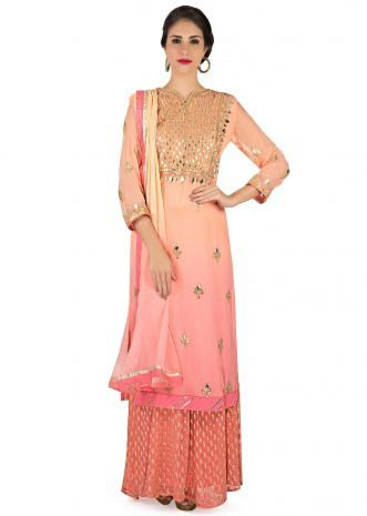 Peach and pink straight suit with placket in gotta patch work only on Kalki