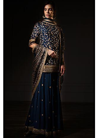 Peacock blue cotton silk palazzo suit set in zari embroidery