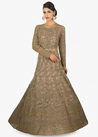 Peanut brown anarkali gown in sequins and cut dana