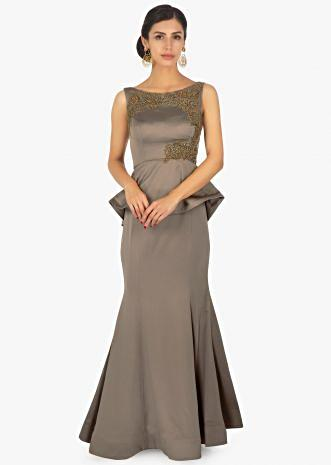 Peanut brown milano satin  gown in peplum style