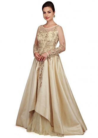 Pearl cream gown with bodice in pearl and zari work only on Kalki