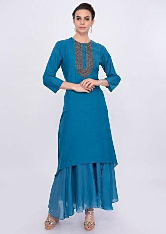 Persian blue double layer cotton tunic dress only on Kalki