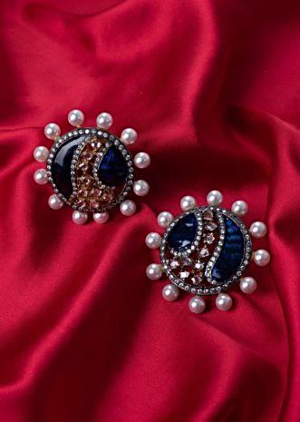 Persian blue round shield style cluster earring only on Kalki