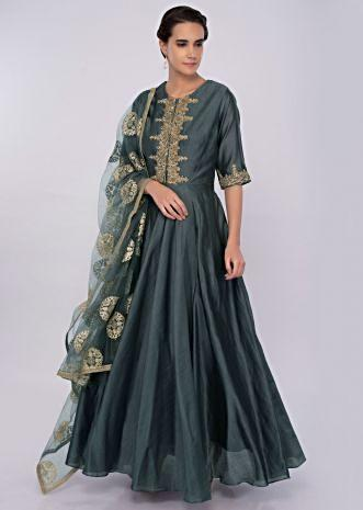 Pewter grey cotton silk anarkali dress with lace embroidered placket only on kalki