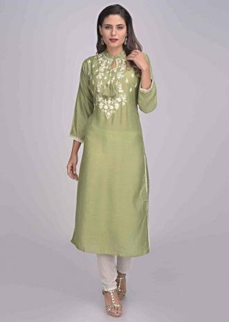 be6cfd39df Pickle green cotton kurti with embroidery work only on Kalki