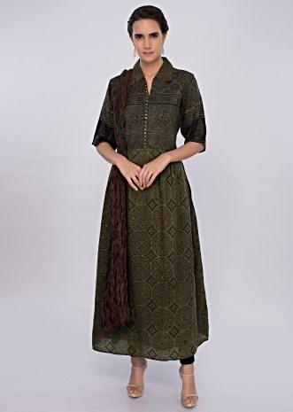 Pickle green cotton suit in tribal print only on kalki