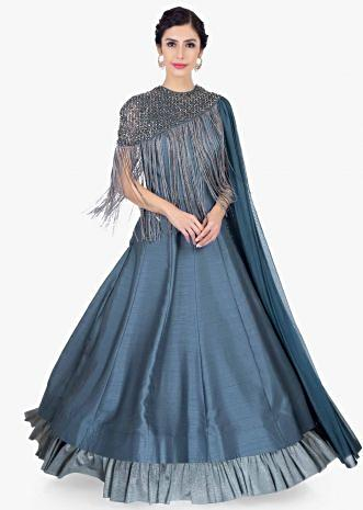 Pigeon blue silk gown with matching lycra cape with embellished neckline