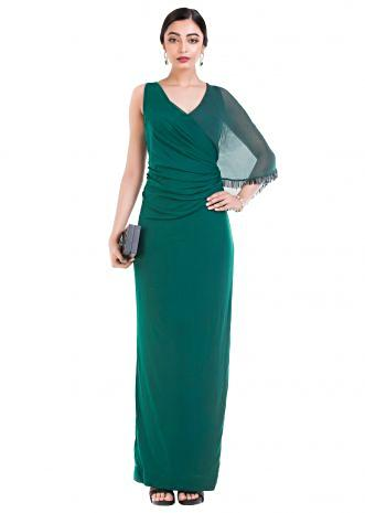 Pine Green Long Dress with one side cape