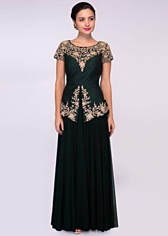 Pine green lycra net gown with embroidered peplum style bodice